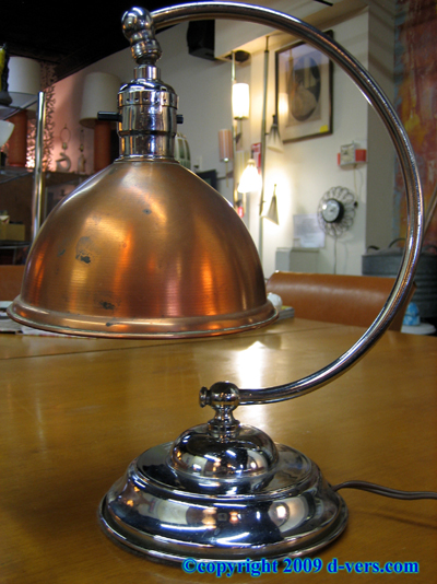 ART DECO Desk Lamp Original Copper Chrome