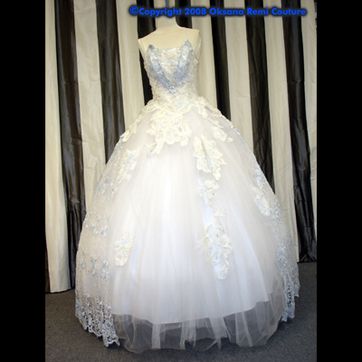 OKSANA REMI Haute Couture Bridal Custom Wedding Blue/White Lace