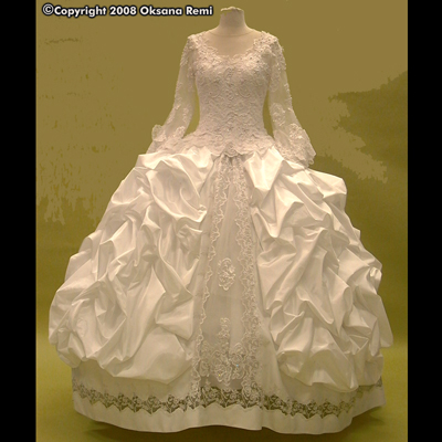 OKSANA REMI Custom Haute Couture Bridal Wedding Taffeta Lace