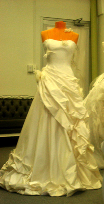 OKSANA REMI Custom Bridal Wedding Haute Couture Draping Rosettes