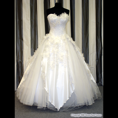 OKSANA REMI Custom Bridal Haute Couture Wedding Snow Flower Lace