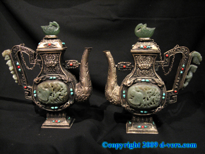 CHINESE Jade Carved Jadeite Wine Pot Pair Teapot Pewter Silver
