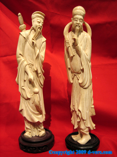 "13"" Chinese Ivory Antique Mandarin Figures Pair Rosewood Stand"