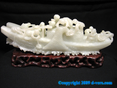 NEPHRITE White Jade Chinese Antique Carved Fishing Boat