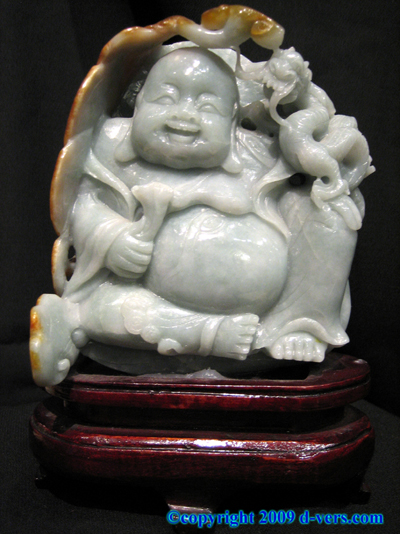 JADEITE White Happy Buddha Chinese Money Prosperity