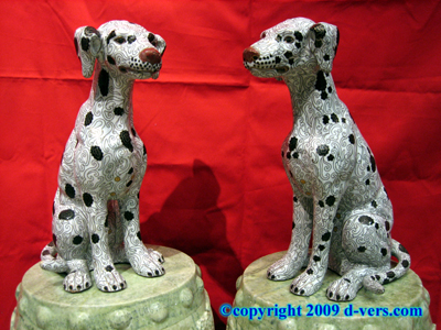 CHINESE Cloisonne Antique Dalmatian Statue Bronze Pair