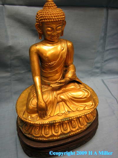 Chinese Gilded Bronze Seated Buddha Statue Antique 19th Century