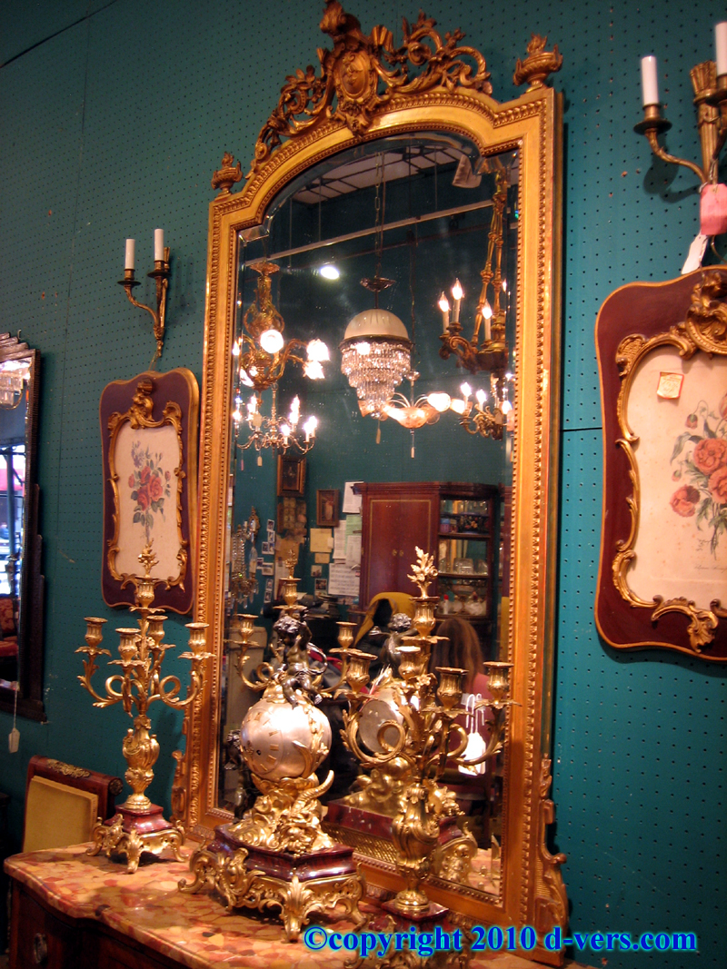 19th Century Louis XVI Water Gilded Hanging Mirror