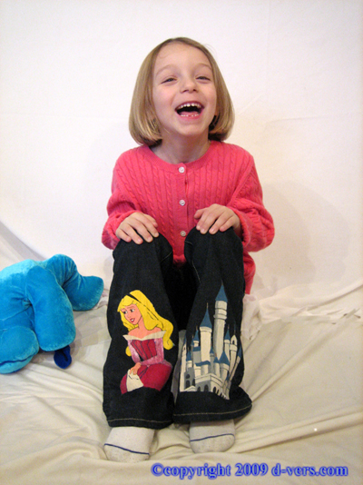 CUSTOM Hand-Painted Disney Princess Girls Pants Aurora & Castle