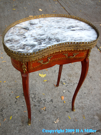 French Reproduction Marble Table Bronze Gallery Wood Inlay