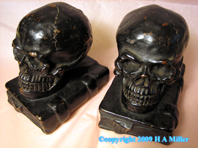 Skull And Book Bookends Book Ends Armor Bronze NYC