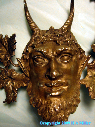 Bronze Satyr Head Pair Furniture Ornaments 19th Century