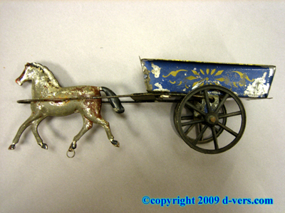 TIN TOY Antique Horse & Wagon 1860 19th Century