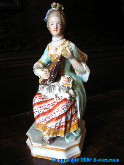 ENGLISH Georgian Pearlware Figurine Woman Mandolin Antique 1790