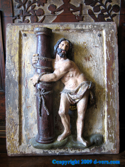 17th Century Spanish Colonial Polychromed Wood Christ At Column