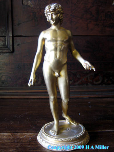 F. Barbedienne Gilded Bronze Sculpture Adonis 19th C French