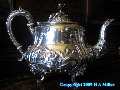 English Sheffield Silver Plated Teapot Georgian Irish Hand Chase