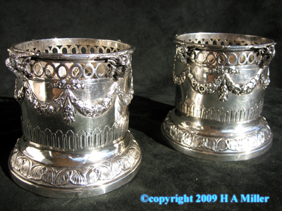 Austrian Wine Coasters Continental 800 Silver Antique 19th C
