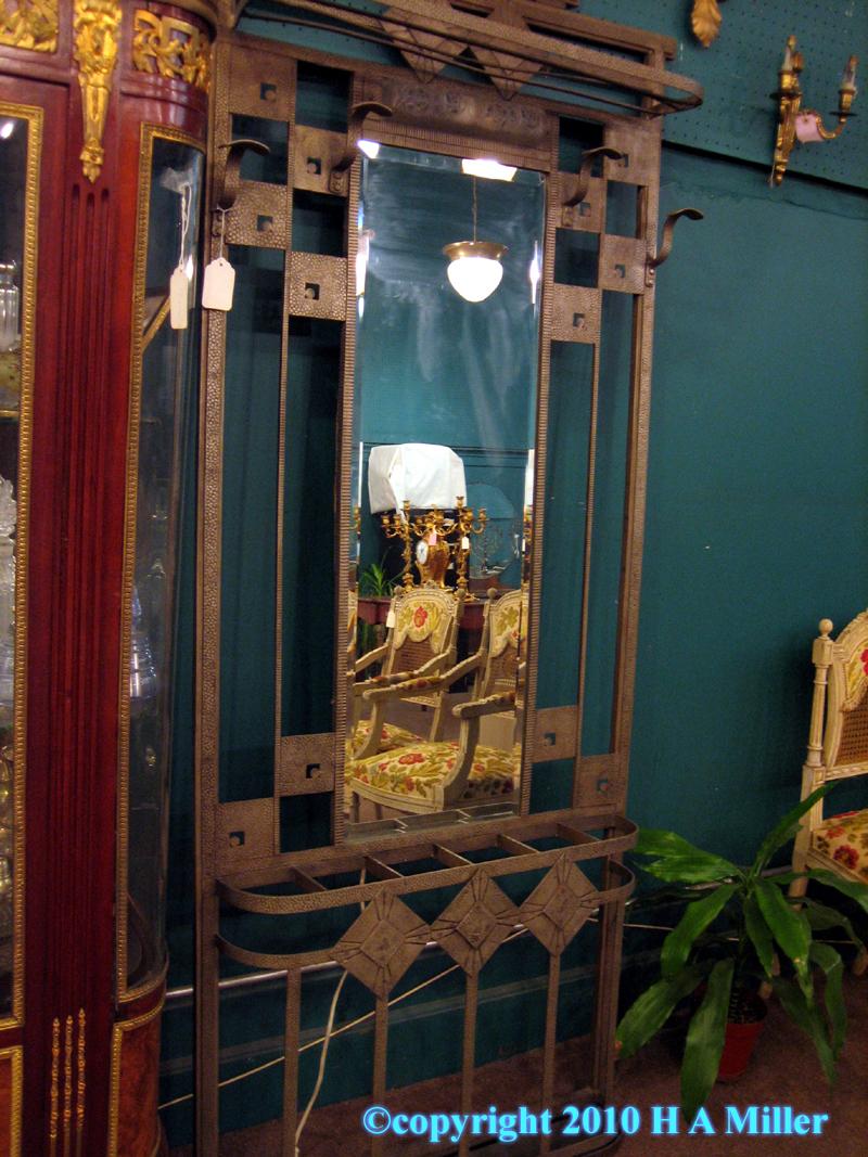 Art Deco Coat Rack with Lighted Mirror