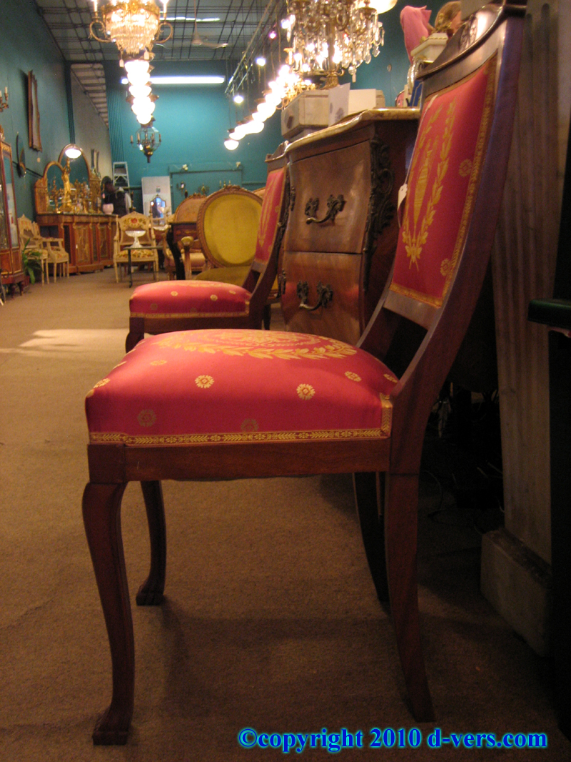Empire Style Pair of Side Chairs Red Medallion Upholstery