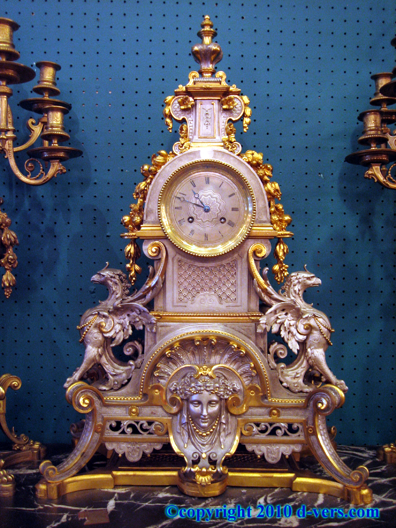 Empire 3 Piece Garniture Mantel Clock Candelabra