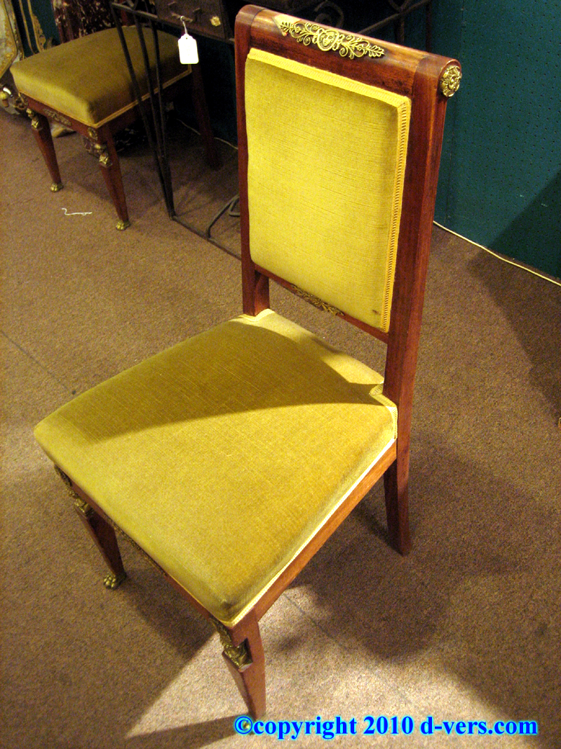 Pair of Empire Mahogany Side Chairs, Ormolu Gilded