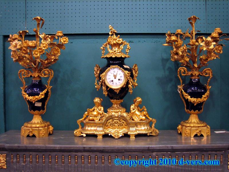 Porcelain and Gilded Bronze 3 Piece Garniture