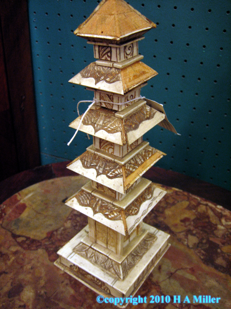 Ivory Japanese Pagoda Sculpture Detailed With Secret Doors