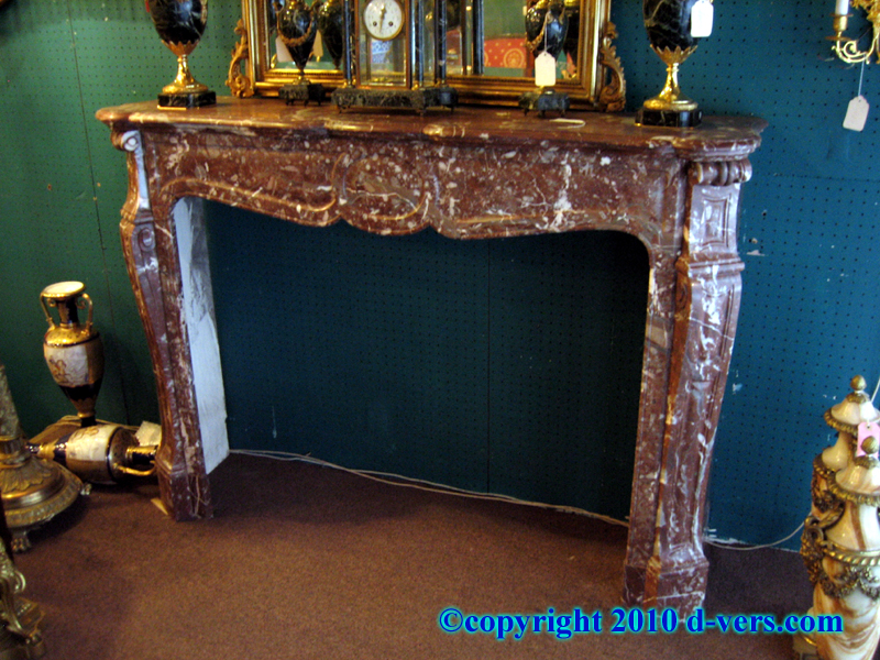 Louis XV Rouge Marble Fireplace Surround Mantelpiece Carved Rouge Marble