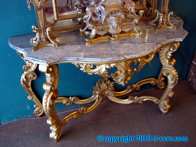 19th Century Gold Leaf Gilded Marble Console