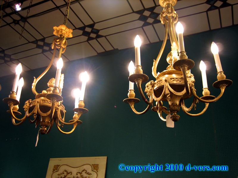 Louis XVI Style Ormolu Gilded Chandeliers With Goat Heads