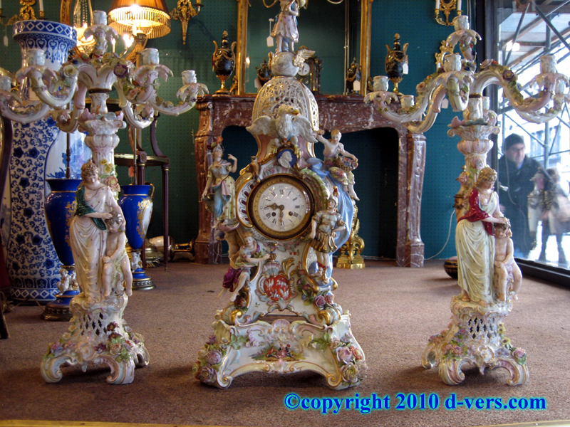 Meissen Porcelain German Three Piece Garniture Clock and Candelabra