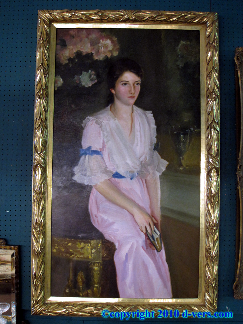 19th Century Oil Painting Of A Young Lady In Pink Holding A  Book