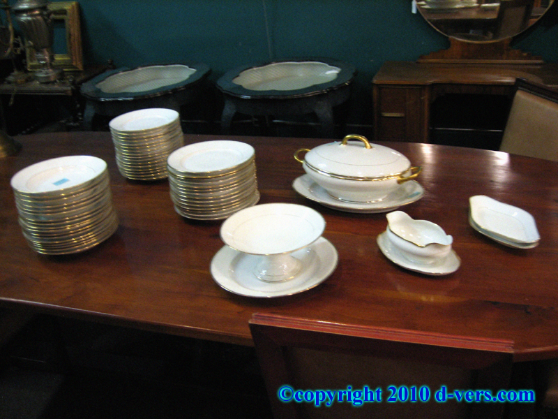 Porcelain limoges Dinnerware and Servingware Set Complete