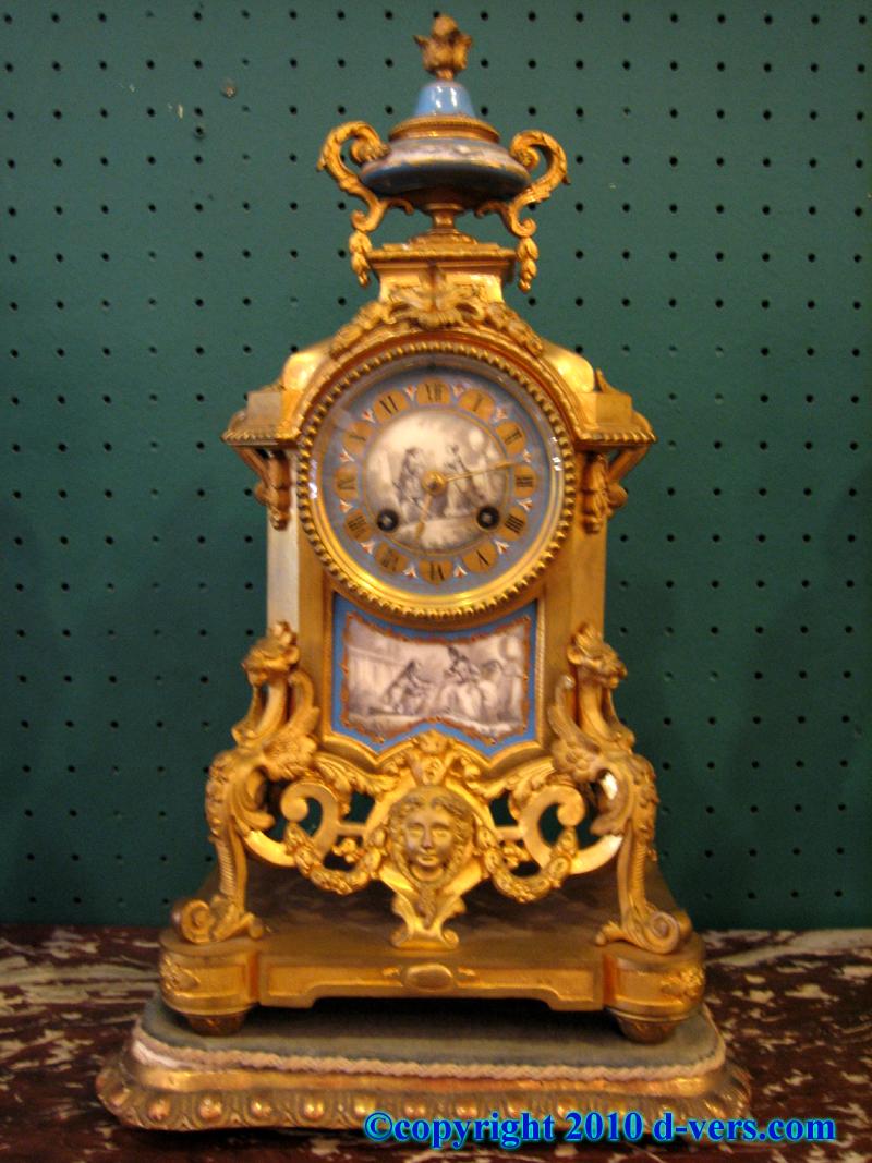 Louis XVI Porcelain Sevres Garniture Mantel Clock Candelabra