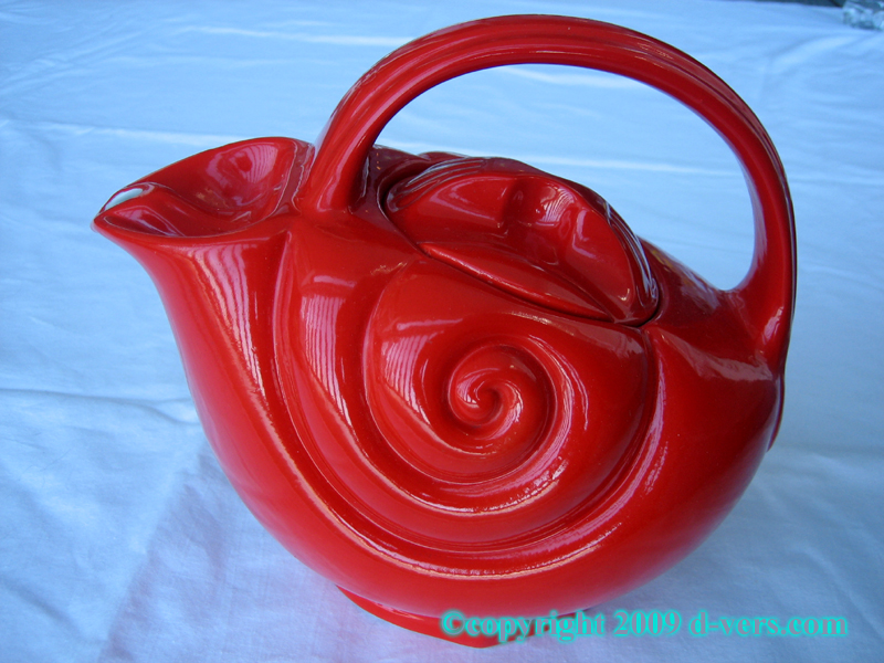 Hal China Co Art DecoRed Teapot Seashell Design