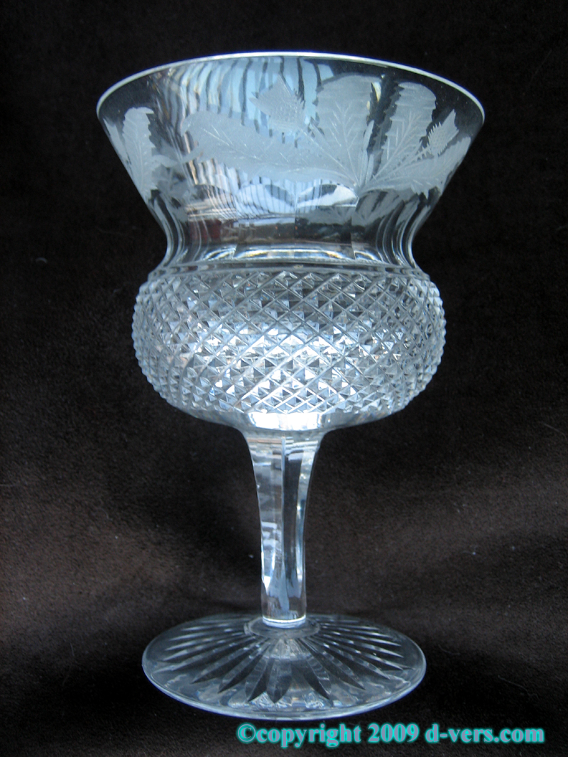 Thistle Crystal Glass Water Goblet Made by Edinburgh in Scotlans