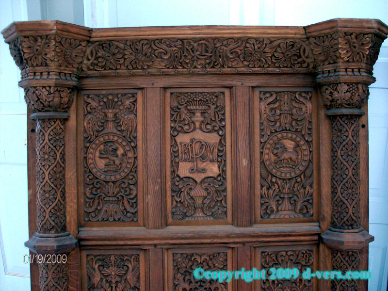 Fireplace surround or mantelpiece made in the Elizabethan era as a wedding gift