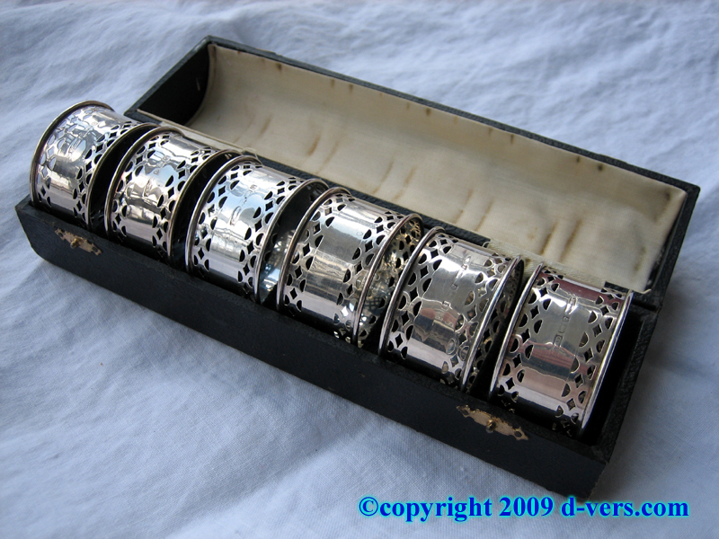 English sterling silver napkin rings