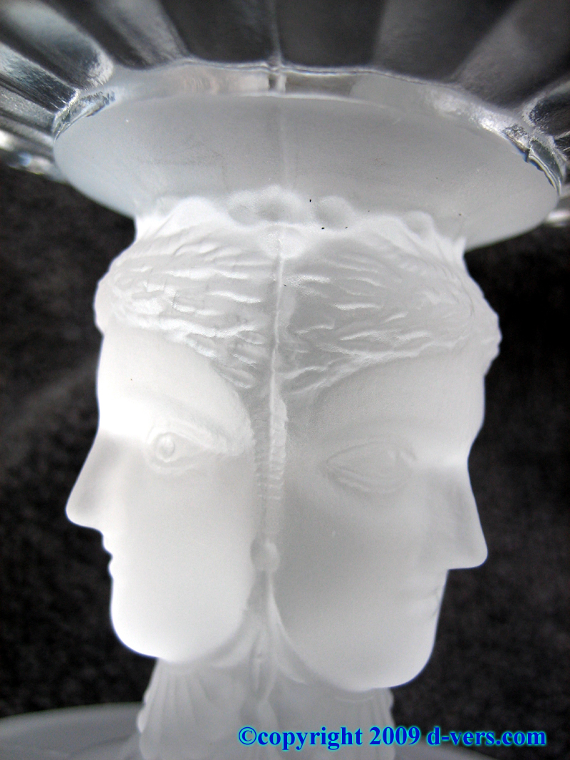 Lead crystal glass server with carved Janus heads
