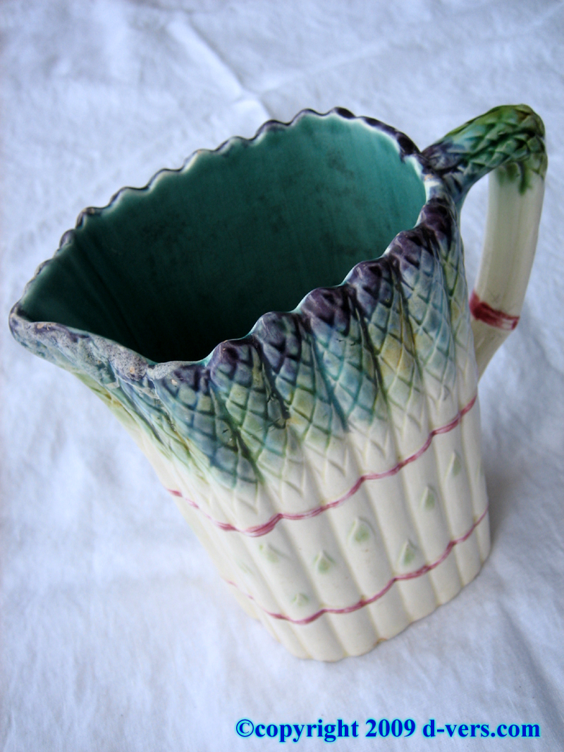 Majolica French asparagus spear pitcher