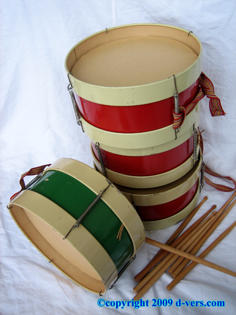 Set of children's toy drums from the early 20th Century