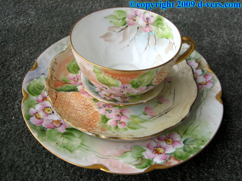 Hand painted cup and saucer set with floral design