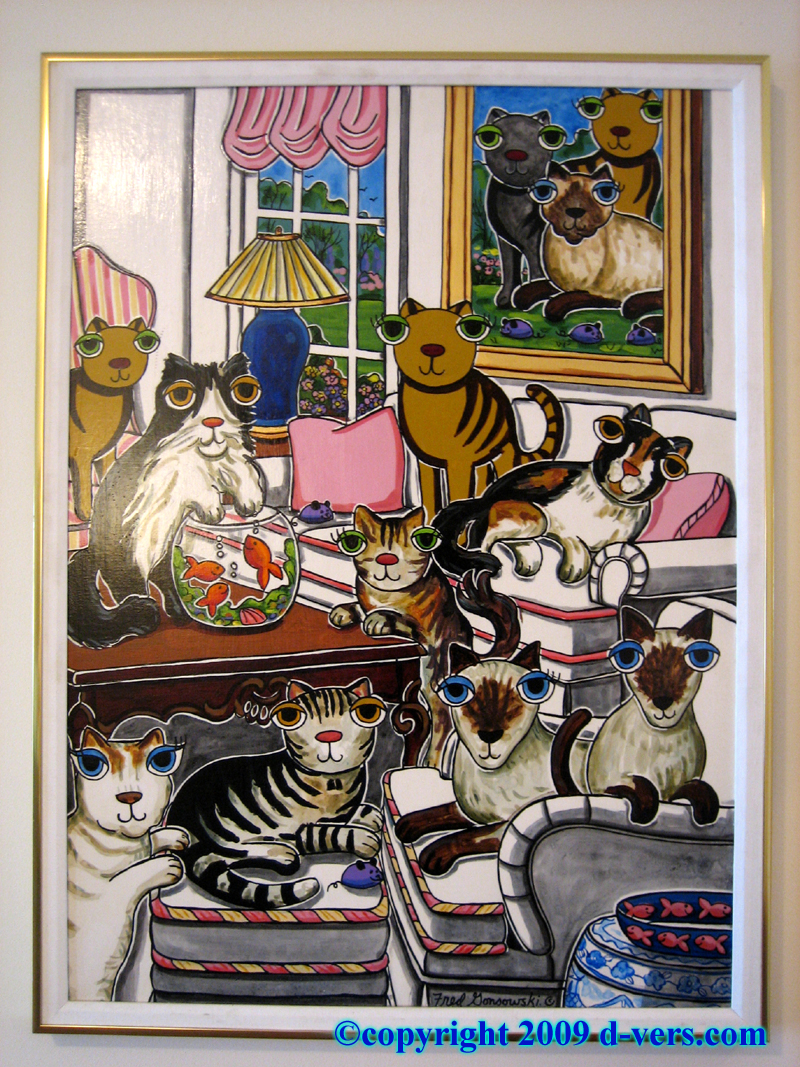 Cat original painting by Fred Gonsowski