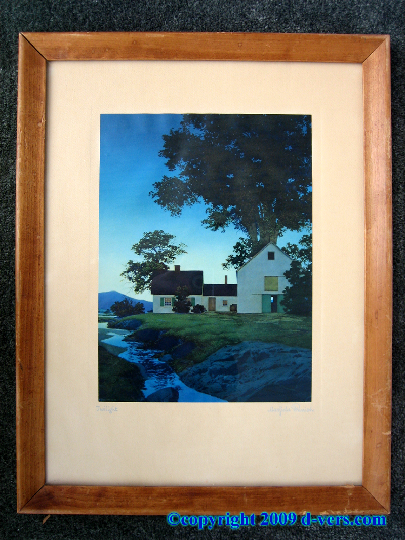 Framed print by Maxfield Parrish of Twilight