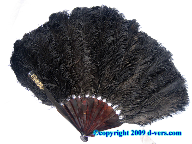 Antique ostrich feather and tortoise shell fan