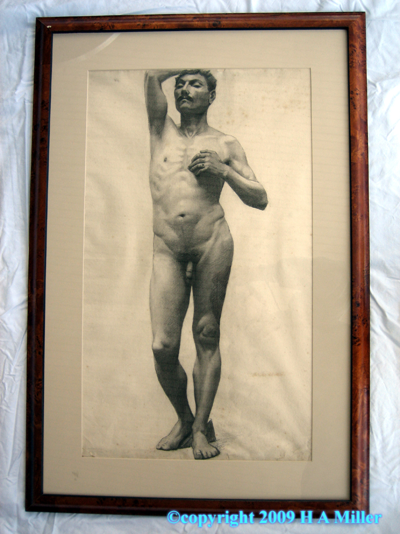 Beaux Arts Male Nude Charcoal Drawing