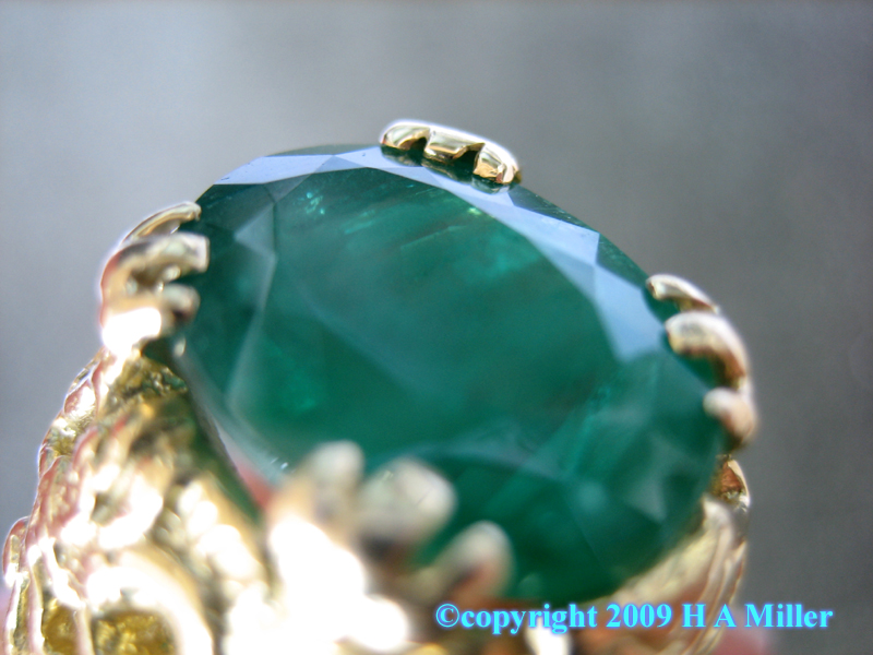 Emerald Gentleman's Ring With Dragon Motif in 18K Gold