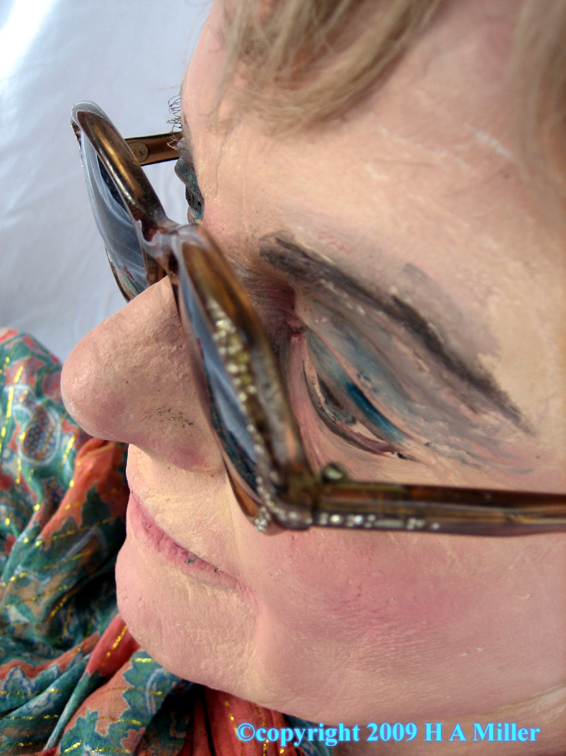 Sideview of glasses on Test Head for Duane Hanson piece Fundraiser