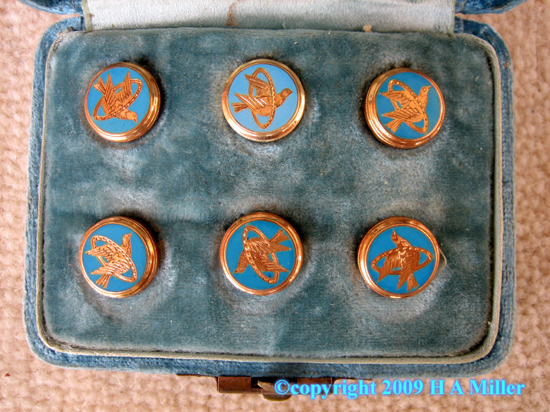 Set of Victorian turquoise enamel dress shirt studs